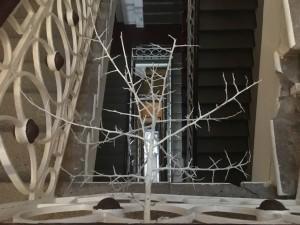 Сухая композиция над лестничным пролетом